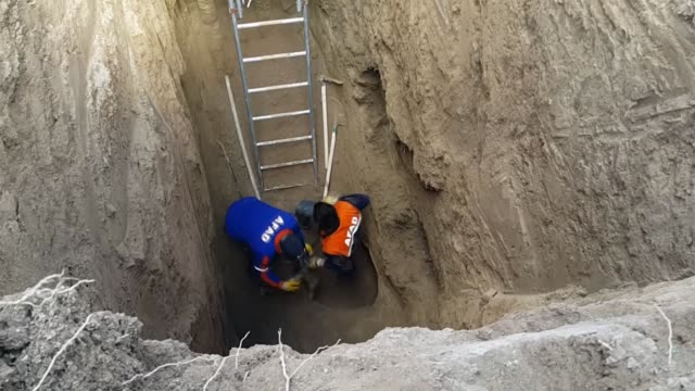 Teams of Prime Ministry Disaster Relief Agency and Aksaray Municipality save a 30 day old puppy trapped in 9 meter deep pit after 6 hours of rescue...