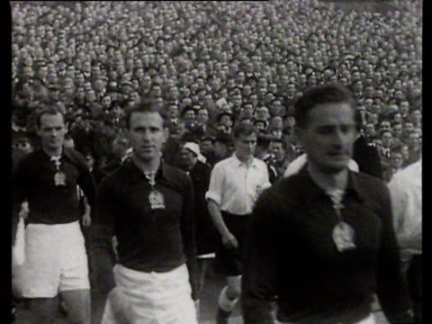 Teams walk out for England vs Hungary International Friendly Wembley Stadium London 25 Nov 53