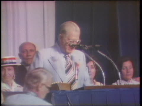 teamsters union secretary/treasurer ray schoessling praises frank fitzsimmons, who was re-elected as president of the union. - caucasian appearance stock videos & royalty-free footage