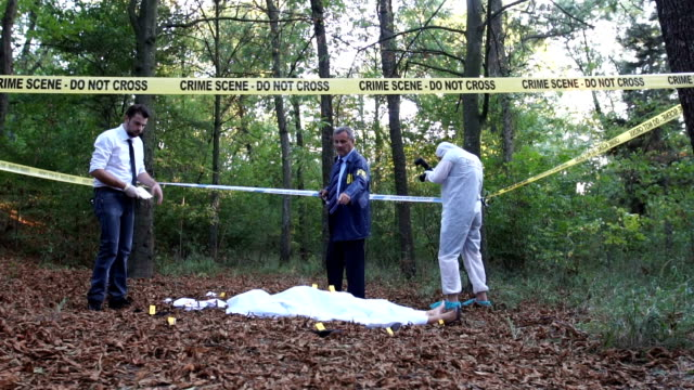teamwork at the crime scene - gory of dead people stock videos & royalty-free footage