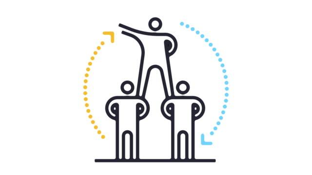 teamwork line icon animation - line icon stock videos & royalty-free footage