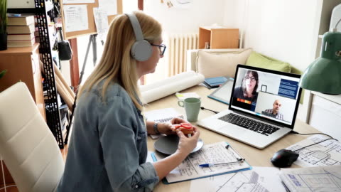 teamwork over the video call - employees using teleconference - video call stock videos & royalty-free footage