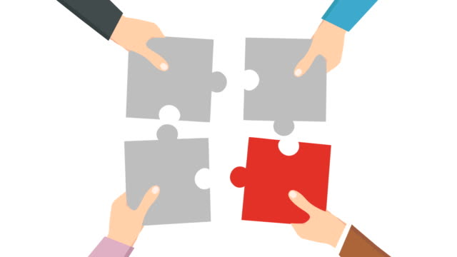 teamwork,  puzzle hand 4k animation, businessman hands connecting jigsaw puzzle, luma matte. - four people stock videos & royalty-free footage