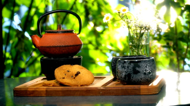 teapot and tea cups with cookies outdoors - black tea stock videos & royalty-free footage