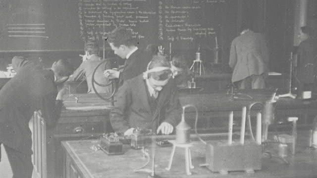 1925 MONTAGE Technical college students in electrical engineering and welding workshop classes / Newcastle upon Tyne, England, United Kingdom