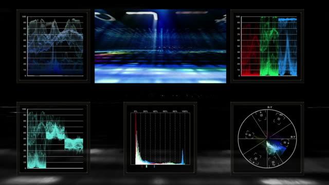 technical screen display of pulsing video data - digital viewfinder stock videos & royalty-free footage