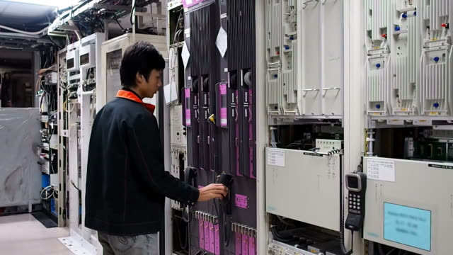 Technician checking network
