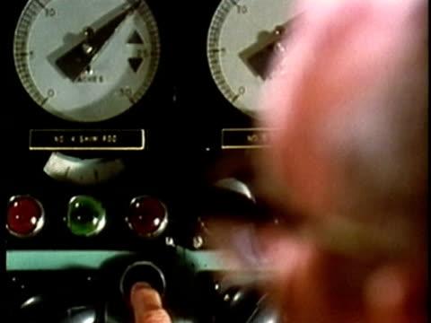 stockvideo's en b-roll-footage met 1969 montage cu r/f technician in control room at oak ridge national laboratory/ cu control room workings/ oak ridge, tennessee, usa/ audio  - surveillance