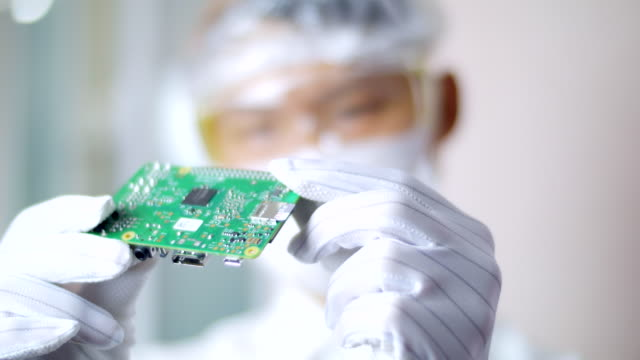 technician man in the clean room - electronics industry stock videos & royalty-free footage