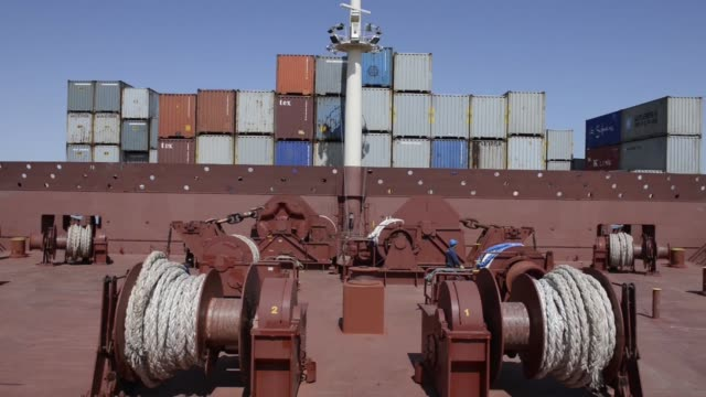 technician works aboard the ebba maersk container ship, operated by a.p. moeller-maersk a/s, as it passes through the suez canal in egypt passage... - suez canal stock videos & royalty-free footage