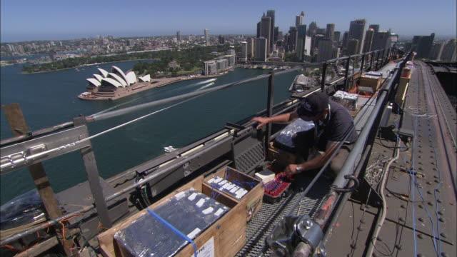 a technician works on a bridge in sydney. - technician stock videos & royalty-free footage