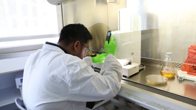 technicians work inside a bugworks research india ltd laboratory in bengaluru india on thursday may 31 2018 - microbiologia video stock e b–roll