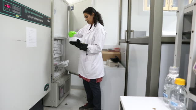 technicians work inside a bugworks research india ltd. laboratory in bengaluru, india, on thursday, may 31, 2018. - mikrobiologie stock-videos und b-roll-filmmaterial