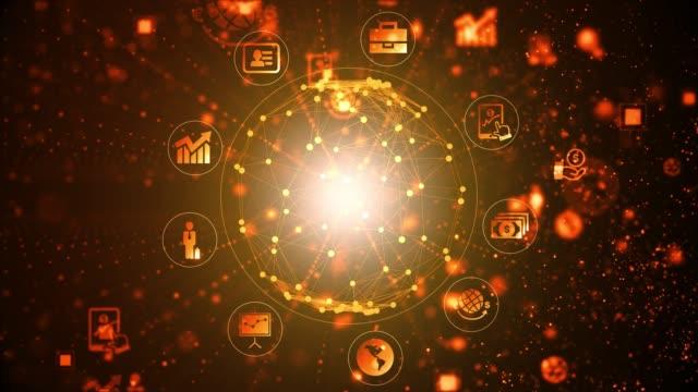 technologic background 4k - orange background stock videos & royalty-free footage