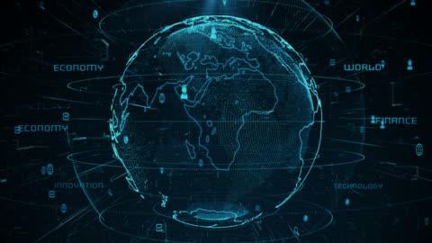 stockvideo's en b-roll-footage met technologische aarde 4k - economie