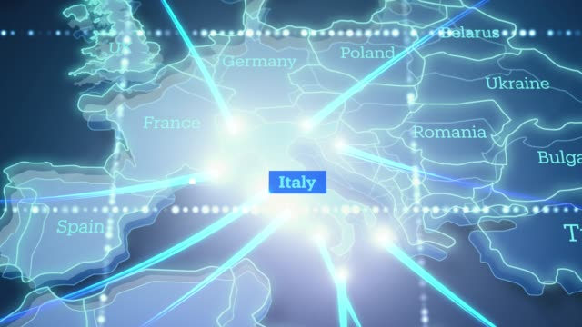 technologic earth connection to italy - 4k - physical geography stock videos & royalty-free footage