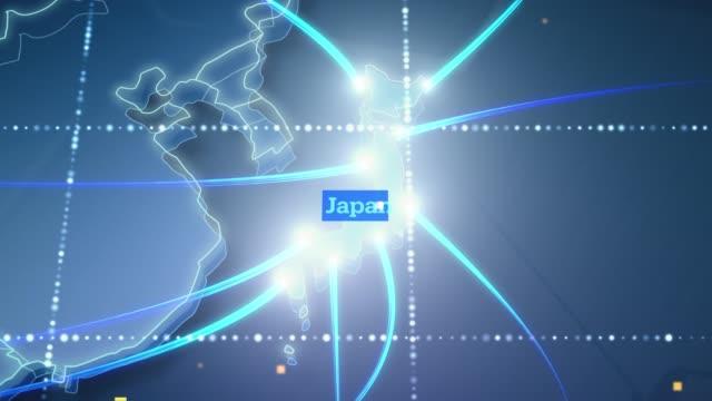 日本へのテクノロジックアース接続 - 4k - 地図点の映像素材/bロール
