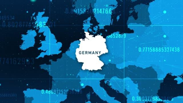 technologic deutschland karte 4k stockvideo - internationale geschäftswelt stock-videos und b-roll-filmmaterial