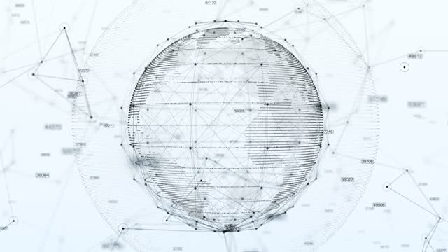 vídeos de stock, filmes e b-roll de mapa do mundo da rede 4k technologic - fundo branco