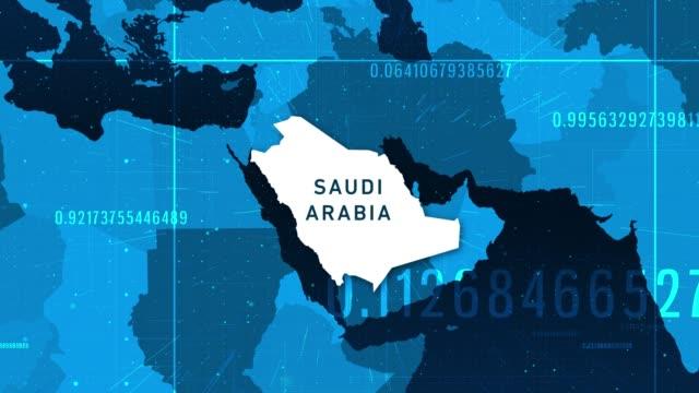 technologic saudi arabia map 4k stock video - climate map stock videos & royalty-free footage