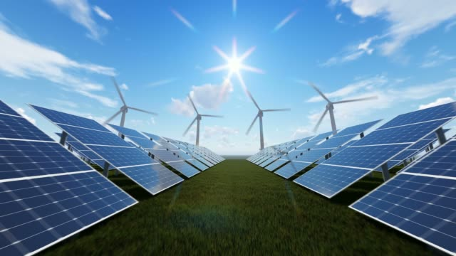 technologic wind farm and solar panels - power in nature stock videos & royalty-free footage