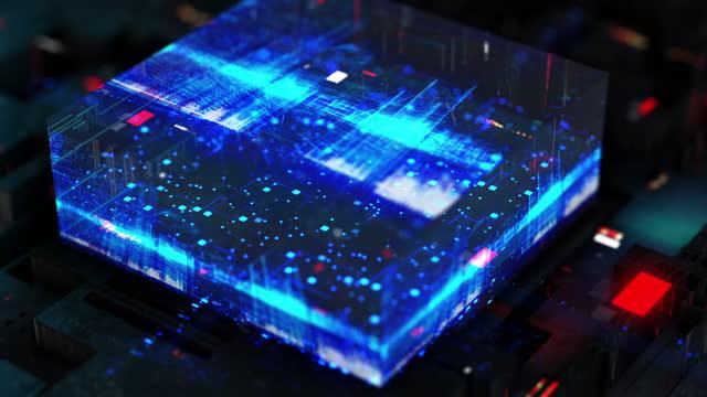 未来的な抽象都市からなる技術デジタル背景 - 中央演算処理装置点の映像素材/bロール