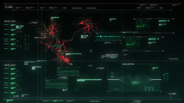 teknisk display med neuron synapse network animation streaming på futuristiska pekskärm skannings gränssnitt - hud grafiskt användargränssnitt bildbanksvideor och videomaterial från bakom kulisserna