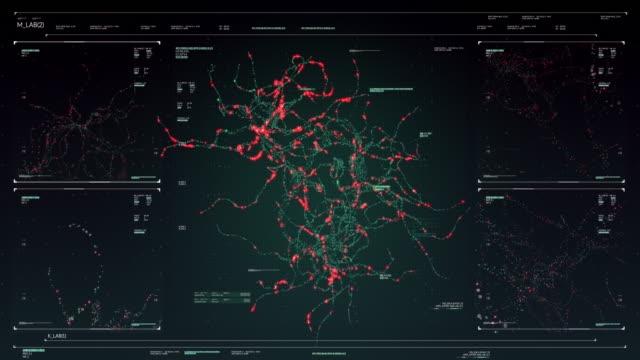 technological display with neuron synapse network animation streaming on futuristic touch screen scan interface - nerve cell stock videos & royalty-free footage