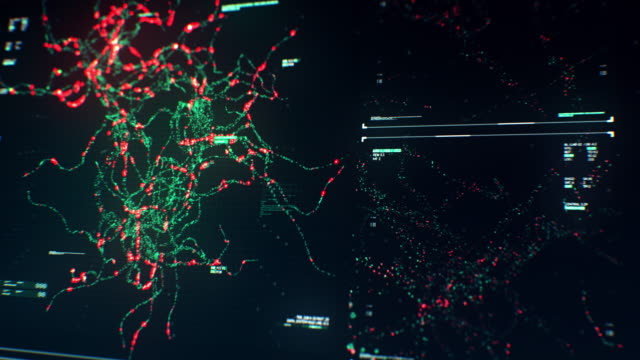 display tecnologico con animazione di rete neuron synapse in streaming su futuristic touch screen scan interface - microscopio elettronico a scansione video stock e b–roll
