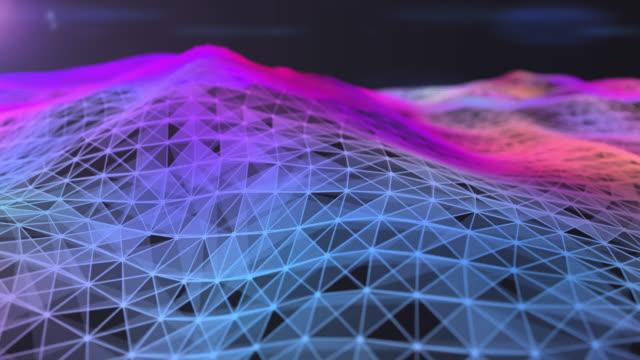 vídeos y material grabado en eventos de stock de tecnología el fondo de movimiento abstracto colores brillantes partículas chispas bucle de movimiento de onda. antecedentes digitales futuristas para ciencia de negocios y tecnología. concepto de tecnología digital e innovación. mercados financieros - tabla medios visuales