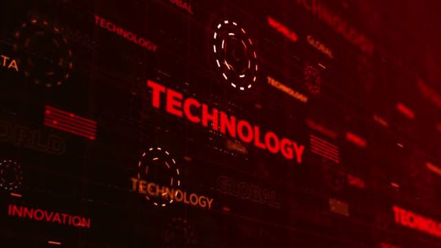4k technology background - interfaccia utente grafica video stock e b–roll