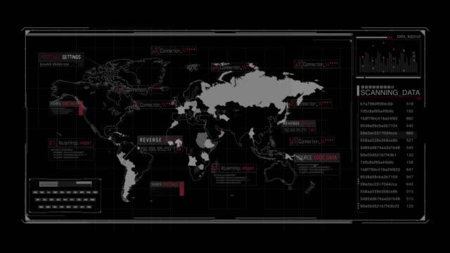 hud 技術コマンドコントロールセンター。世界のデジタル地図 - 電波探知機点の映像素材/bロール