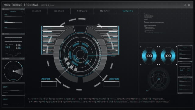 technology command control center. loop-hud - control panel stock videos & royalty-free footage