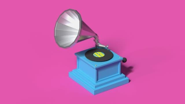 technologie unterhaltung vinyl-musik-player cartoon-stil 3d rendering - einzelner gegenstand stock-videos und b-roll-filmmaterial
