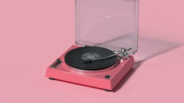 vídeos de stock e filmes b-roll de technology entertainment vinyl music player cartoon style 3d rendering - cor de rosa
