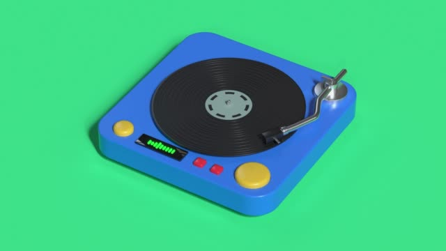 technology entertainment vinyl music player cartoon style 3d rendering - disk stock videos & royalty-free footage
