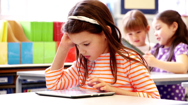 technology in class - elementary age stock videos & royalty-free footage