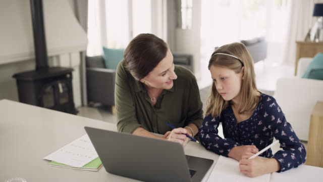 technology is a big help in her learning process - one parent stock videos & royalty-free footage