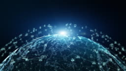 Technology Network Data Connection Network Marketing and Cyber Security, high-speed connection data analysis. Technology data binary code network conveying connectivity background concept.