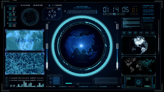 technology sci fi command control center. hud interface - sala di controllo video stock e b–roll