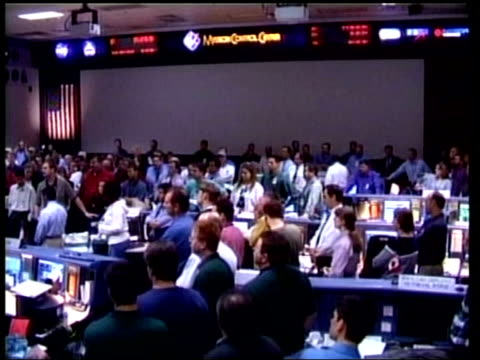 technology/accidents: shuttle columbia explodes returning to earth; nasa houston: tgv staff at mission control listening - control stock videos & royalty-free footage