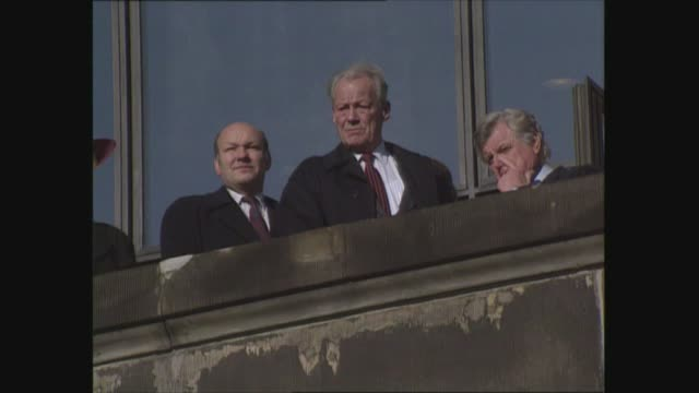 ted kennedy and willy brandt in west berlin west germany west berlin la senator edward kennedy on balcony with ex west german chancellor willy brandt... - westberlin stock-videos und b-roll-filmmaterial