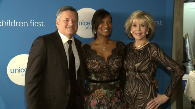 Ted Sarandos Nicole Avant and Jane Fonda at the Seventh Biennial UNICEF Ball Los Angeles at the Beverly Wilshire Four Seasons Hotel on April 14 2018...