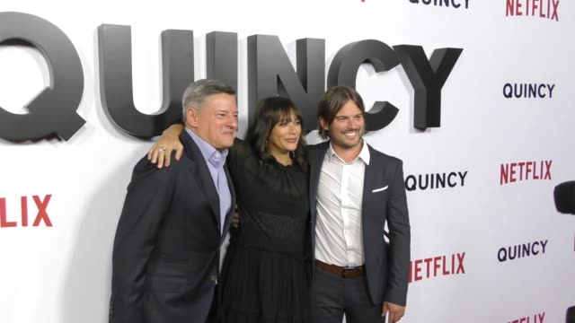 Ted Sarandos Rashida Jones and Al Hicks at the premiere of 'Quincy' from Netflix at the Linwood Dunn Theater in Hollywood at Celebrity Sightings in...