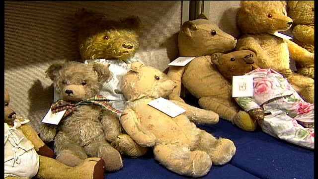 Teddy Bear auction at Christie's ENGLAND London Christie's auction house INT **Music overlaid SOT** General views of vintage Teddy Bears on display...