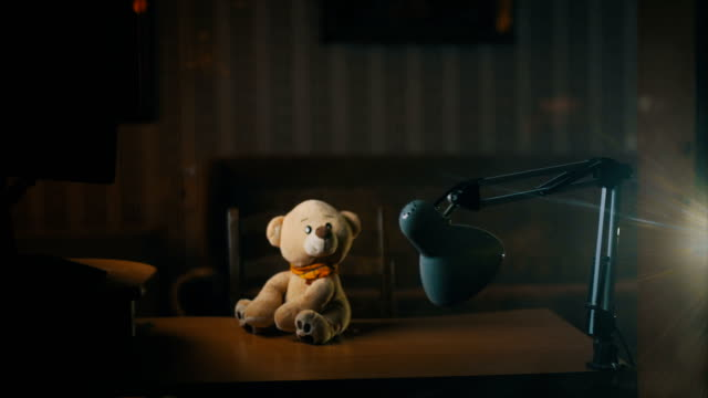 teddy bear on desk - teddy bear stock videos and b-roll footage