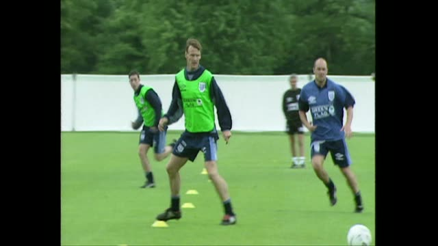 teddy sheringham training with england football team for euro 96 - 1996 stock videos & royalty-free footage