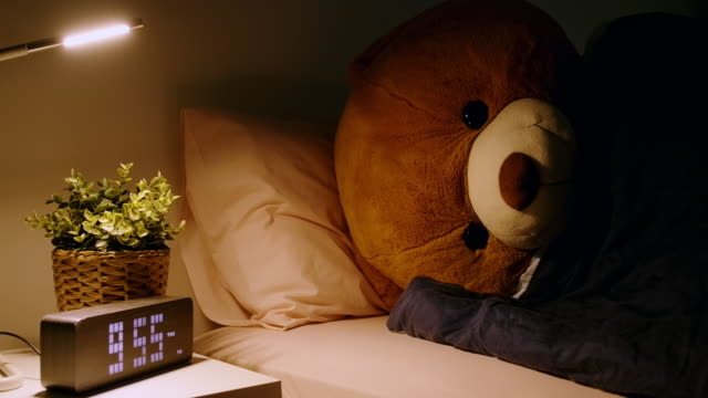 teddy sleeping in bed, side shot. - bed stock videos & royalty-free footage