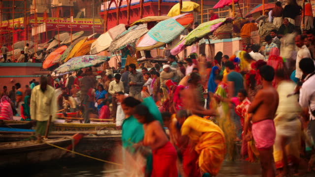 Teeming colourful life on the ghats, Varanasi