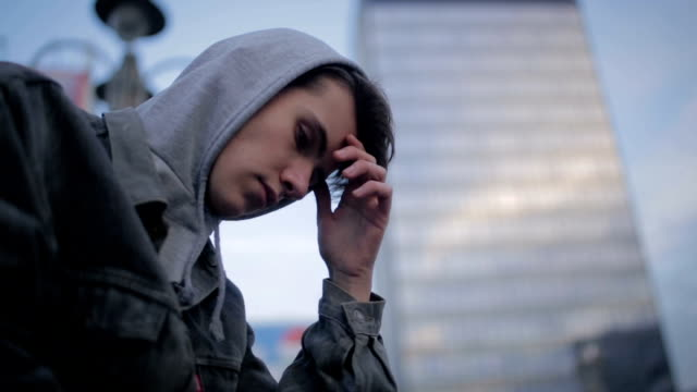 teen boy in depression outdoor,city and modern teenage lifestyle - teenage boys stock videos & royalty-free footage
